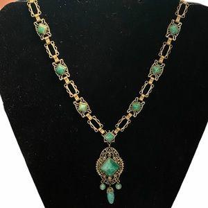 Vintage Art Deco green glass Necklace